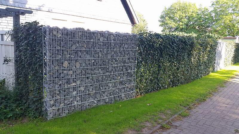Fertighecke in Kombination mit einer Steinmauer